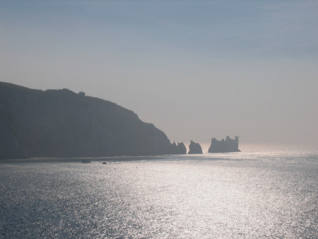 The Needles and chalk cliffs viewed from Alum Bay