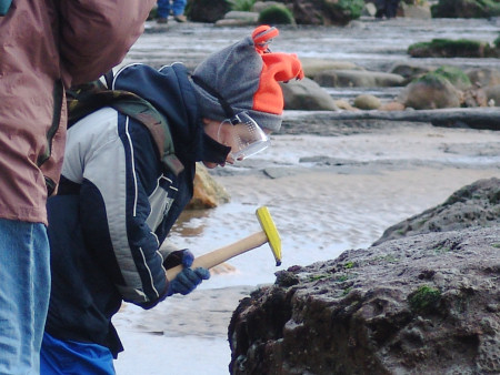 Young fossil hunter hammers a rock in search of fossils