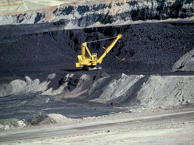 Large quarry digger in coal mine