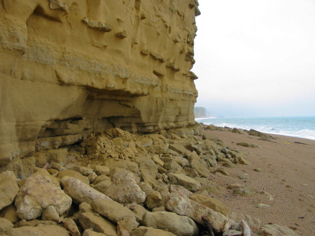 Close-up of rockfall at Burton Bradstock