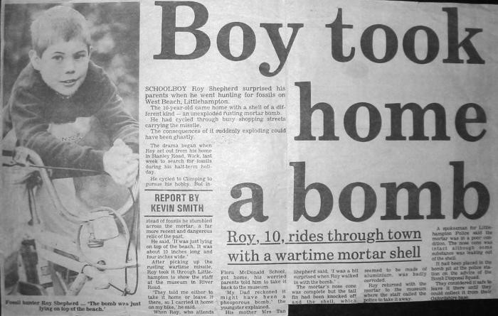 Roy Shepherd Boy took home a bomb Littlehampton beach newspaper cutting
