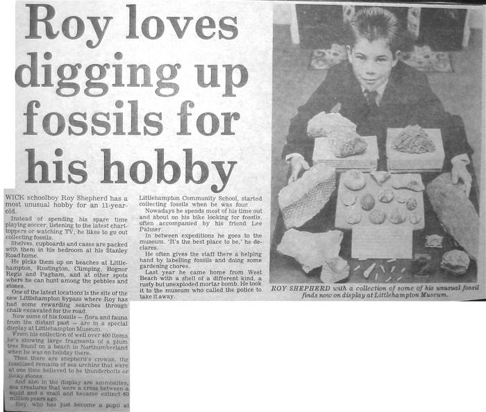 Roy Shepherd loved digging up fossils for his hobby Littlehampton Gazette newspaper cutting
