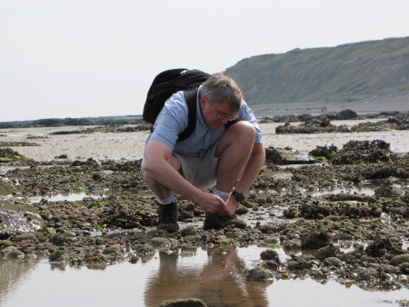 John Fowler fossil hunting at Herne Bay