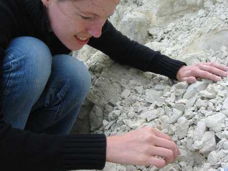 Lucinda Shepherd fossil hunting within the chalk near Lewes