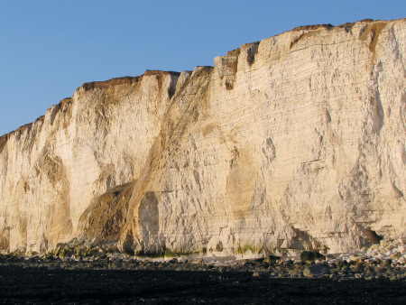 Dissolution pipes in the cliff-face at Seaford Head