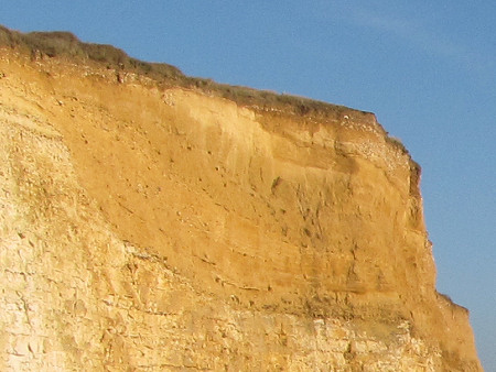 Close-up of the cliffs at Seaford Head showing the contour of the former chalk valley
