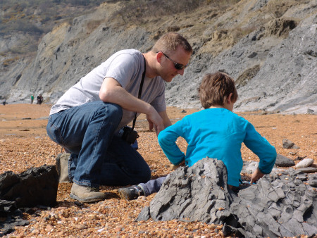 Bill Verkaik searching for fossils at Seatown
