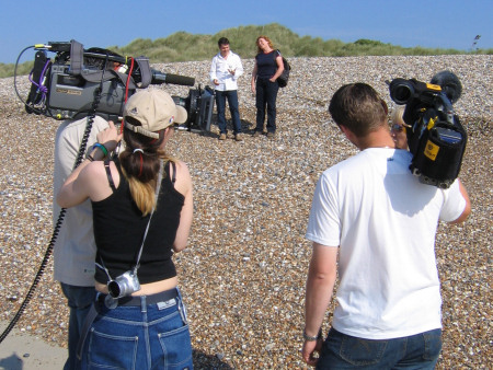 Roy Shepherd and Charlie Dimmock preparing for filming at Littlehampton