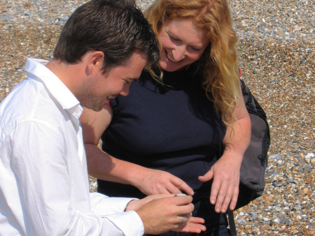 Roy Shepherd shows a fossil to Charlie Dimmock for River Walks ITV