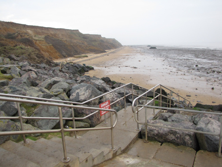 View from the steps towards The Naze cliffs and foreshore